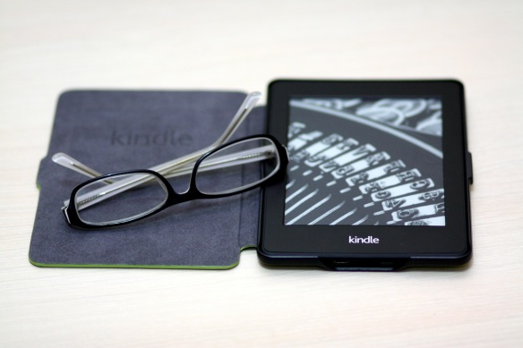 kindle with reading glasses