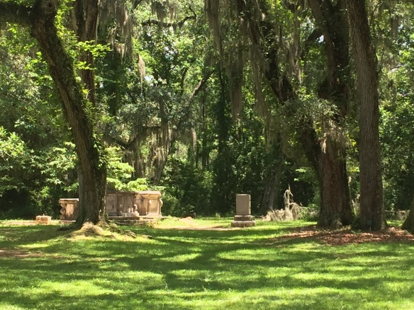 Sheldon church graves with spanish moss